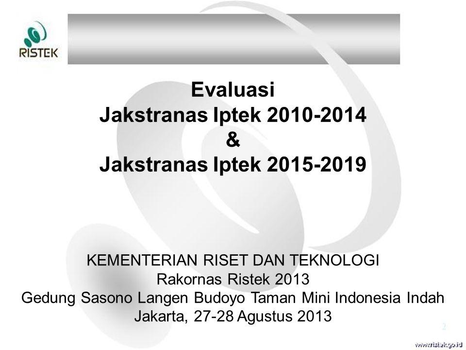 Evaluasi Jakstranas Iptek 2010-2014 & Jakstranas Iptek 2015-2019 KEMENTERIAN RISET DAN TEKNOLOGI Rakornas Ristek 2013 Gedung Sasono Langen Budoyo Tama