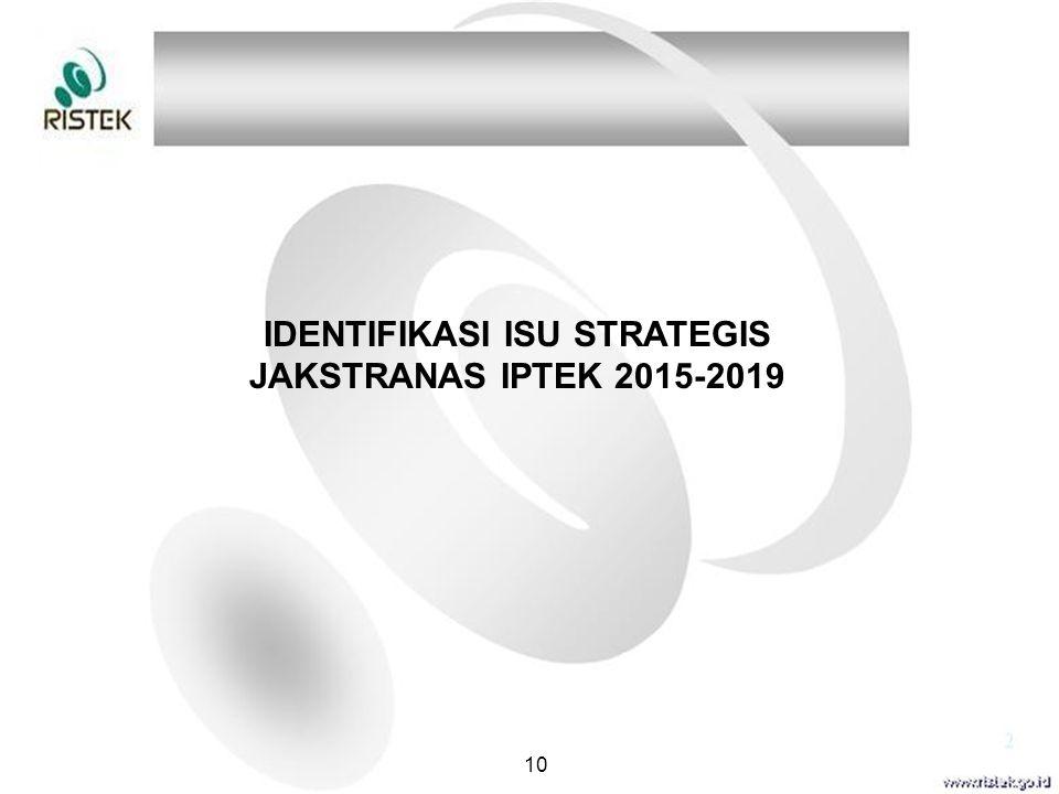 IDENTIFIKASI ISU STRATEGIS JAKSTRANAS IPTEK 2015-2019 10