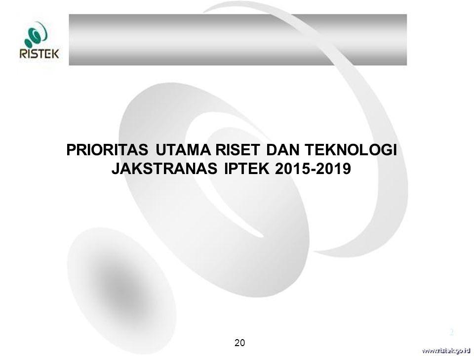 PRIORITAS UTAMA RISET DAN TEKNOLOGI JAKSTRANAS IPTEK 2015-2019 20