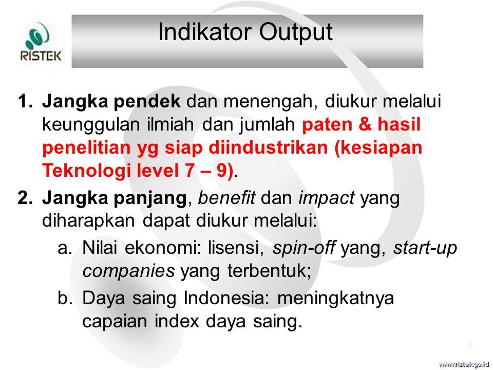 Indikator Output 1.Jangka pendek dan menengah, diukur melalui keunggulan ilmiah dan jumlah paten & hasil penelitian yg siap diindustrikan (kesiapan Te
