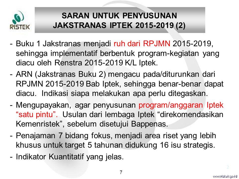 SARAN UNTUK PENYUSUNAN JAKSTRANAS IPTEK 2015-2019 (2) 7 -Buku 1 Jakstranas menjadi ruh dari RPJMN 2015-2019, sehingga implementatif berbentuk program-