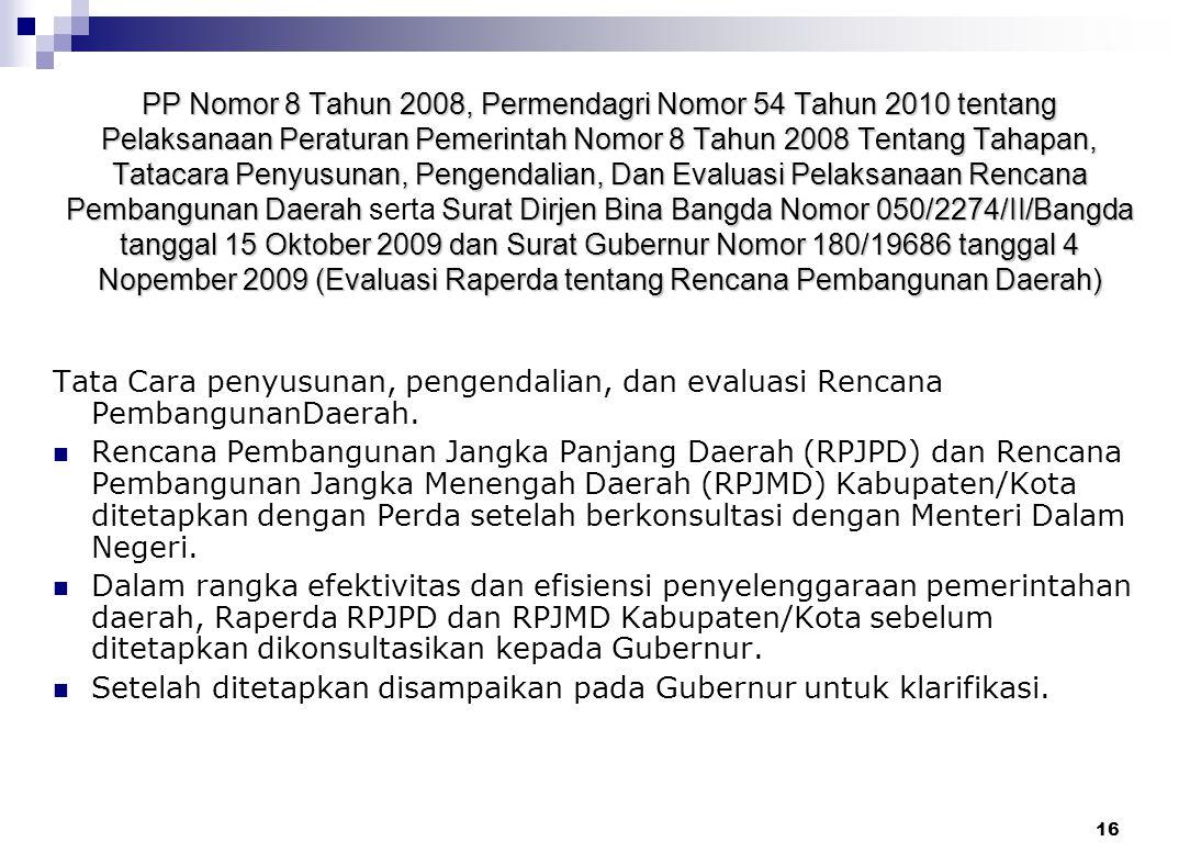 15 Permendagri Nomor 57 Tahun 2007 ( Evaluasi Raperda tentang Organisasi Perangkat Daerah Kabupaten/Kota) Raperda Kabupaten/Kota tentang Organisasi da