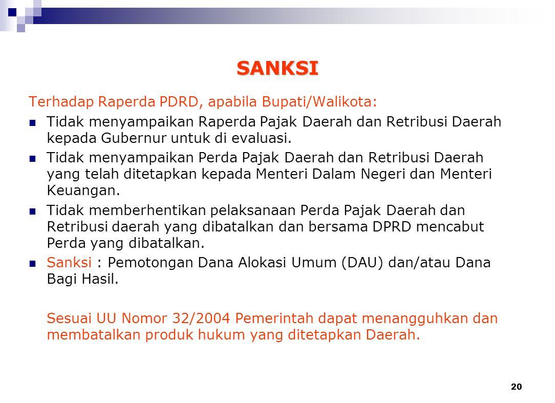 19 Pasal 158 UU Nomor 28 Tahun 2009 PERDA ttg PDRD Menteri Dalam Negeri dan Menteri Keuangan 7 HARI Setujui Bertentangan dengan kepentingan Umum dan/a