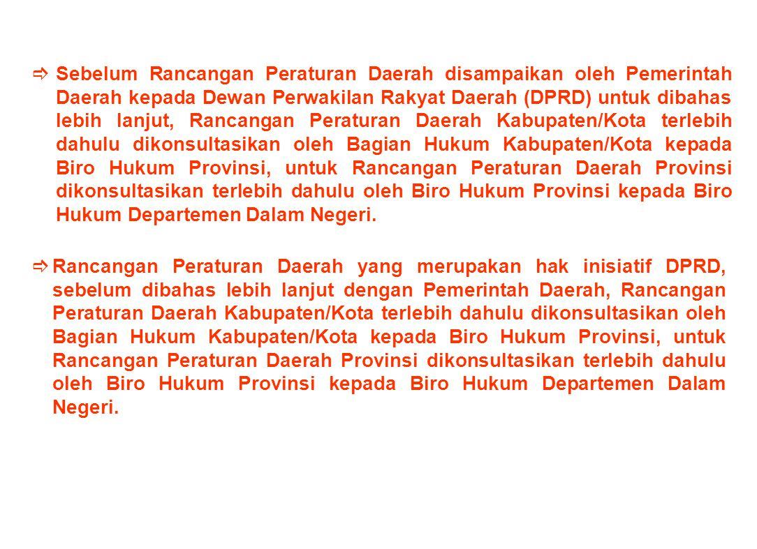 Terhadap Rancangan Perda pengaturan lainnya diluar APBD, Pajak Daerah, Retribusi Daerah dan Tata Ruang Daerah, telah disampaikan kepada para Gubernur,