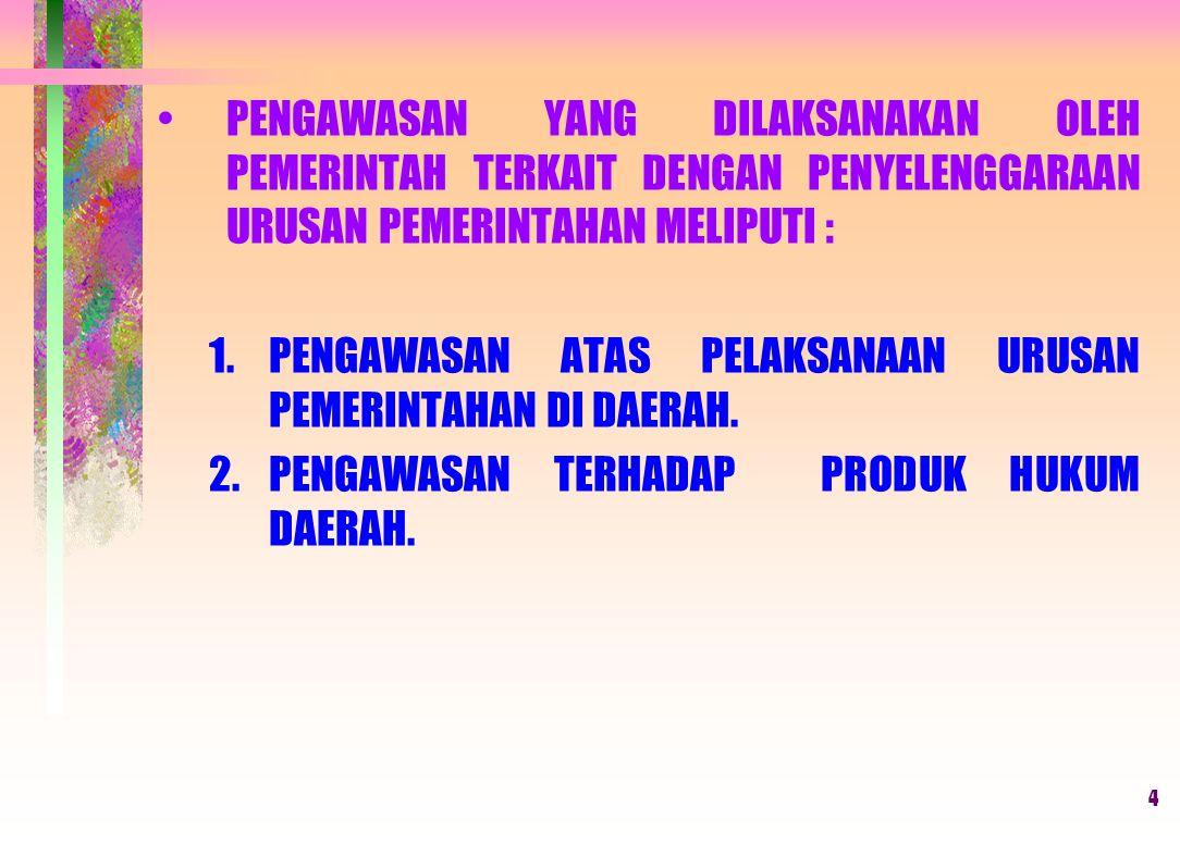 14 EVALUASI RAPERDA KABUPATEN/KOTA (RTRW) (Pasal 20 s/d 22) PELAKSANAAN EVALUASI (Gubernur berkoordinasi dengan BKPRD Provinsi) RAPERDA RTR KABUPATEN/KOTA DILENGKAPI DENGAN LAMPIRANNYA (Dokumen RTR dan Album Peta) 1.Ada persetujuan Bupati/Walikota bersama DPRD Kab/Kota 2.Ada surat rekomendasi Gubernur untuk mendapatkan surat persetujuan substansi teknis dari instansi pusat yang membidangi urusan tata ruan 3.Ada surat persetujuan substansi teknis dari instansi pusat yang membidangi urusan tata ruang Dilakukan setelah : Disampaikan kepada Gubernur Paling lambat 3 (tiga) hari kerja Hasil Evaluasi dituangkan dalam Keputusan Gubernur paling lambat 15 (lima belas) hari kerja HASIL EVALUASI Bupati/Walikota melaporkan hasilnya kepada Gubernur paling lambat 7 (tujuh) hari kerja Apabila tidak ditindaklanjuti ….