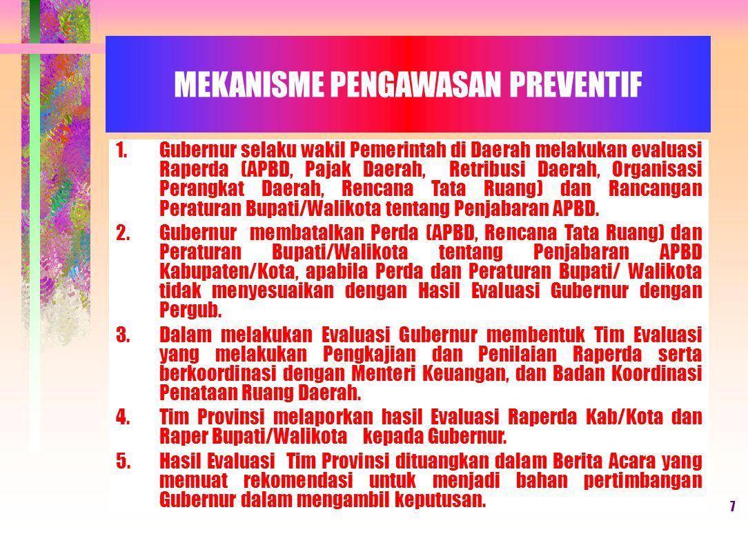 7 MEKANISME PENGAWASAN PREVENTIF 1.Gubernur selaku wakil Pemerintah di Daerah melakukan evaluasi Raperda (APBD, Pajak Daerah, Retribusi Daerah, Organisasi Perangkat Daerah, Rencana Tata Ruang) dan Rancangan Peraturan Bupati/Walikota tentang Penjabaran APBD.