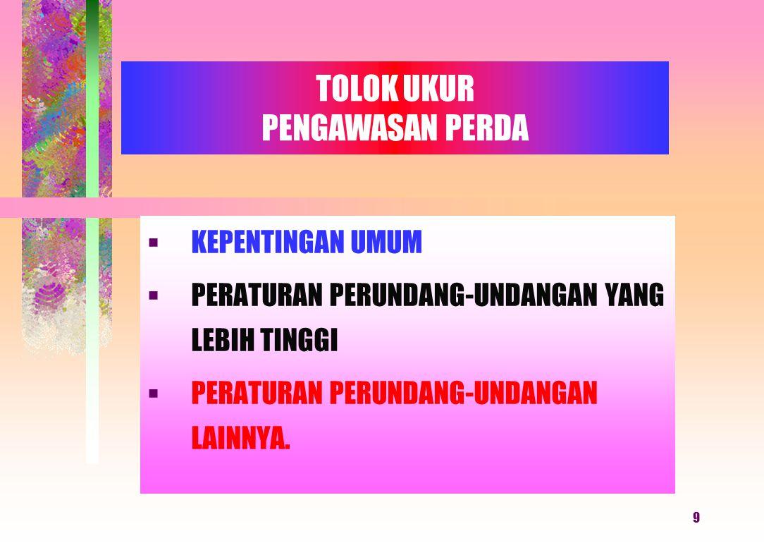 8 6.Berdasarkan hasil rekomendasi Tim Provinsi Gubernur dapat menetapkan Peraturan Gubernur tentang Pembatalan Perda yang telah ditetapkan dan disampa