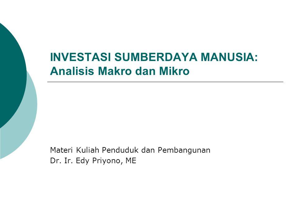 INVESTASI SUMBERDAYA MANUSIA: Analisis Makro dan Mikro Materi Kuliah Penduduk dan Pembangunan Dr. Ir. Edy Priyono, ME