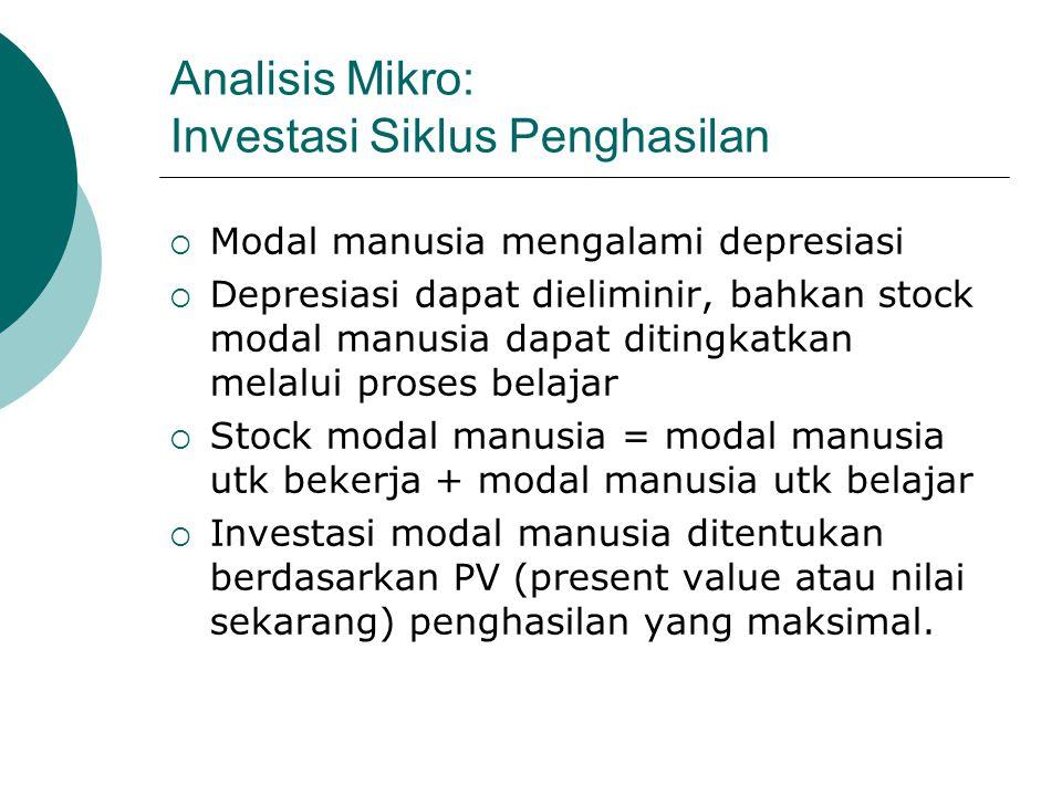 Analisis Mikro: Investasi Siklus Penghasilan  Modal manusia mengalami depresiasi  Depresiasi dapat dieliminir, bahkan stock modal manusia dapat diti