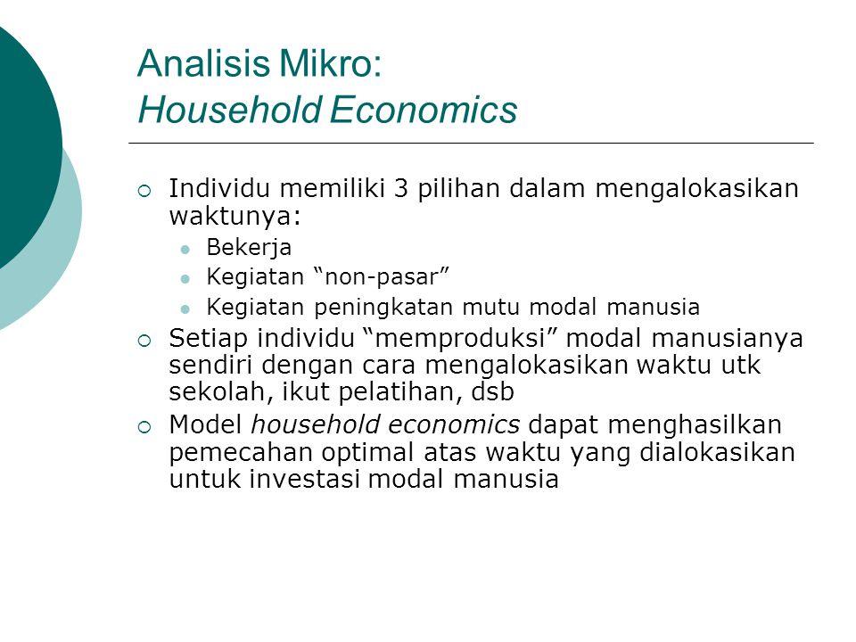 """Analisis Mikro: Household Economics  Individu memiliki 3 pilihan dalam mengalokasikan waktunya: Bekerja Kegiatan """"non-pasar"""" Kegiatan peningkatan mut"""
