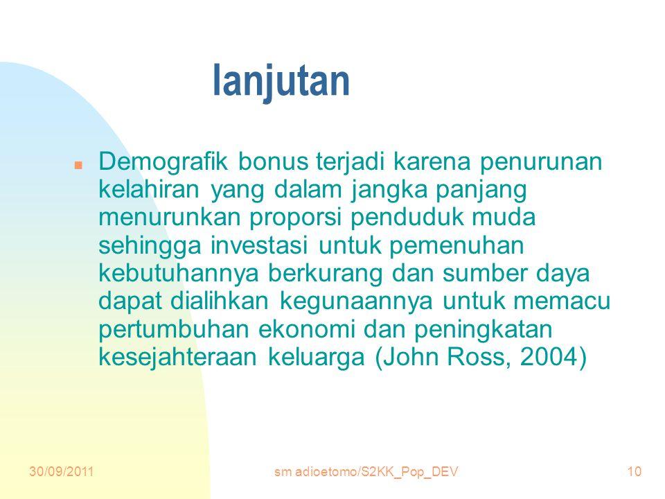 30/09/2011sm adioetomo/S2KK_Pop_DEV10 lanjutan n Demografik bonus terjadi karena penurunan kelahiran yang dalam jangka panjang menurunkan proporsi penduduk muda sehingga investasi untuk pemenuhan kebutuhannya berkurang dan sumber daya dapat dialihkan kegunaannya untuk memacu pertumbuhan ekonomi dan peningkatan kesejahteraan keluarga (John Ross, 2004)
