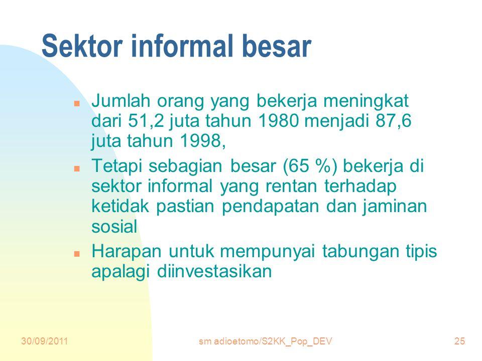 30/09/2011sm adioetomo/S2KK_Pop_DEV25 Sektor informal besar n Jumlah orang yang bekerja meningkat dari 51,2 juta tahun 1980 menjadi 87,6 juta tahun 1998, n Tetapi sebagian besar (65 %) bekerja di sektor informal yang rentan terhadap ketidak pastian pendapatan dan jaminan sosial n Harapan untuk mempunyai tabungan tipis apalagi diinvestasikan