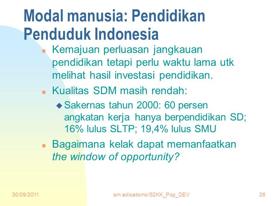 30/09/2011sm adioetomo/S2KK_Pop_DEV26 Modal manusia: Pendidikan Penduduk Indonesia n Kemajuan perluasan jangkauan pendidikan tetapi perlu waktu lama utk melihat hasil investasi pendidikan.