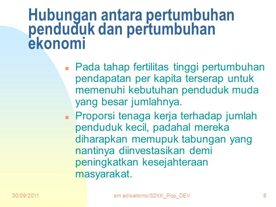 30/09/2011sm adioetomo/S2KK_Pop_DEV6 Hubungan antara pertumbuhan penduduk dan pertumbuhan ekonomi n Pada tahap fertilitas tinggi pertumbuhan pendapatan per kapita terserap untuk memenuhi kebutuhan penduduk muda yang besar jumlahnya.