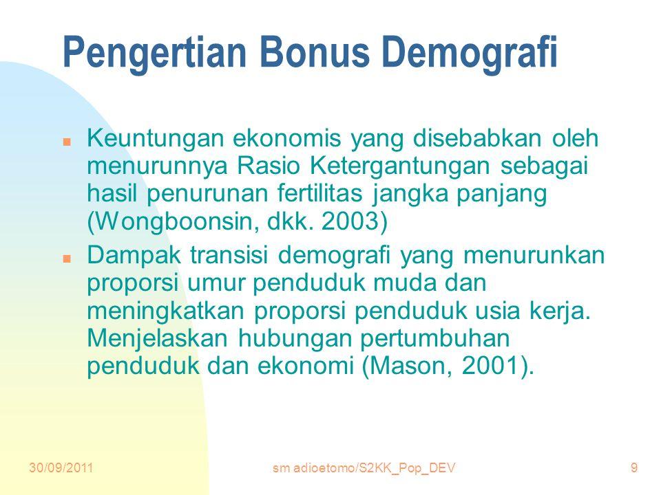 30/09/2011sm adioetomo/S2KK_Pop_DEV9 Pengertian Bonus Demografi n Keuntungan ekonomis yang disebabkan oleh menurunnya Rasio Ketergantungan sebagai hasil penurunan fertilitas jangka panjang (Wongboonsin, dkk.