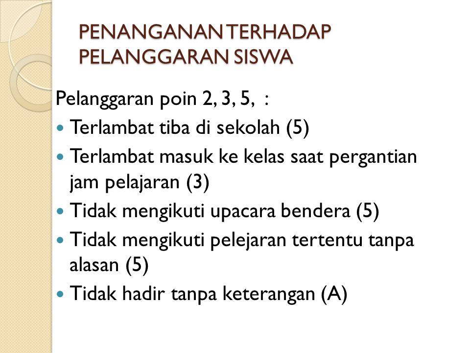 PENANGANAN TERHADAP PELANGGARAN SISWA Pelanggaran poin 2, 3, 5, : Terlambat tiba di sekolah (5) Terlambat masuk ke kelas saat pergantian jam pelajaran