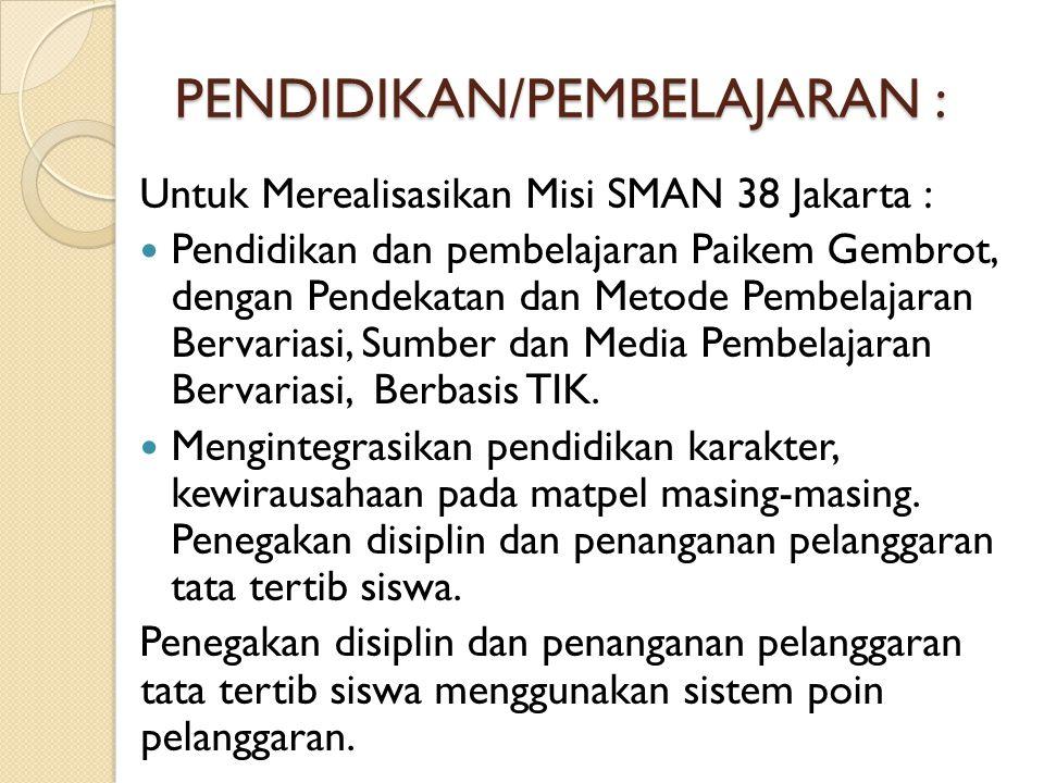 PENDIDIKAN/PEMBELAJARAN : Untuk Merealisasikan Misi SMAN 38 Jakarta : Pendidikan dan pembelajaran Paikem Gembrot, dengan Pendekatan dan Metode Pembela