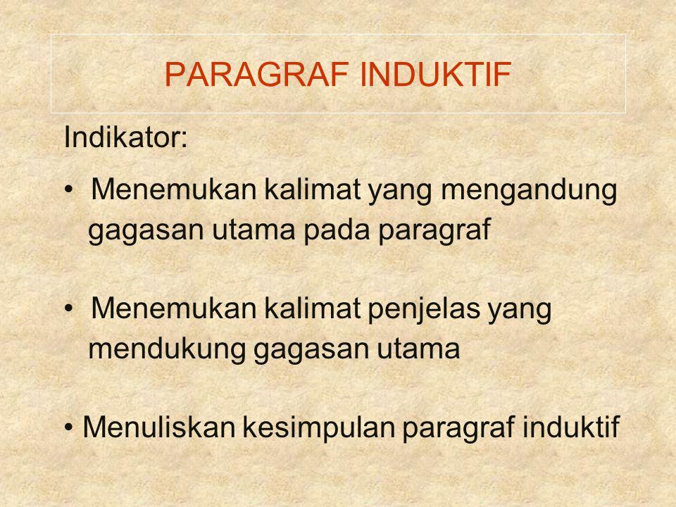 PARAGRAF INDUKTIF Indikator: Menemukan kalimat yang mengandung gagasan utama pada paragraf Menemukan kalimat penjelas yang mendukung gagasan utama Men