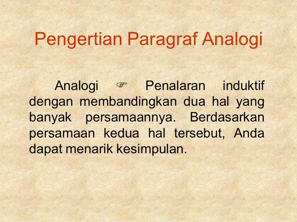 Pengertian Paragraf Analogi Analogi  Penalaran induktif dengan membandingkan dua hal yang banyak persamaannya. Berdasarkan persamaan kedua hal terseb