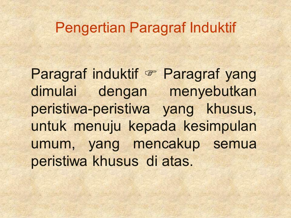 Pengertian Paragraf Induktif Paragraf induktif  Paragraf yang dimulai dengan menyebutkan peristiwa-peristiwa yang khusus, untuk menuju kepada kesimpu