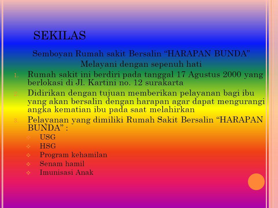 "SEKILAS Semboyan Rumah sakit Bersalin ""HARAPAN BUNDA"" Melayani dengan sepenuh hati 1. Rumah sakit ini berdiri pada tanggal 17 Agustus 2000 yang berlok"