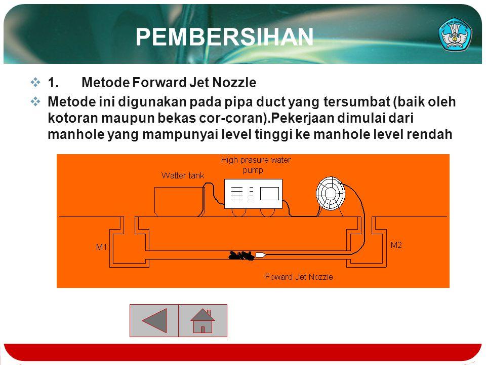  Pembersihan  1. Metode Bacward Jet Nozzle  Metode ini digunakan pada pipa-pipa yang bersih (tidak terjadi penyumbatan)Pelaksanaan dilakukan dari m