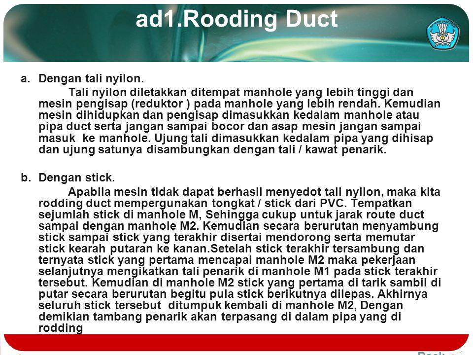 Pelaksanaan Kerja 1.Rodding duct.Rodding duct. 2.Cleaning duct.Cleaning duct. 3.Cheakking.Cheakking. 4.Penarikan dan meletakkan kabel duct.Penarikan d