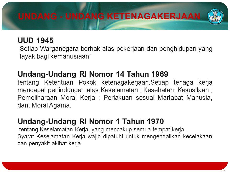 "UUD 1945 ""Setiap Warganegara berhak atas pekerjaan dan penghidupan yang layak bagi kemanusiaan"" Undang-Undang RI Nomor 14 Tahun 1969 tentang Ketentuan"