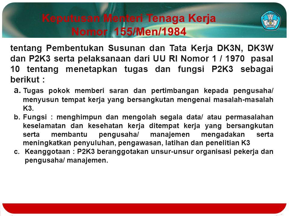 tentang Pembentukan Susunan dan Tata Kerja DK3N, DK3W dan P2K3 serta pelaksanaan dari UU RI Nomor 1 / 1970 pasal 10 tentang menetapkan tugas dan fungs