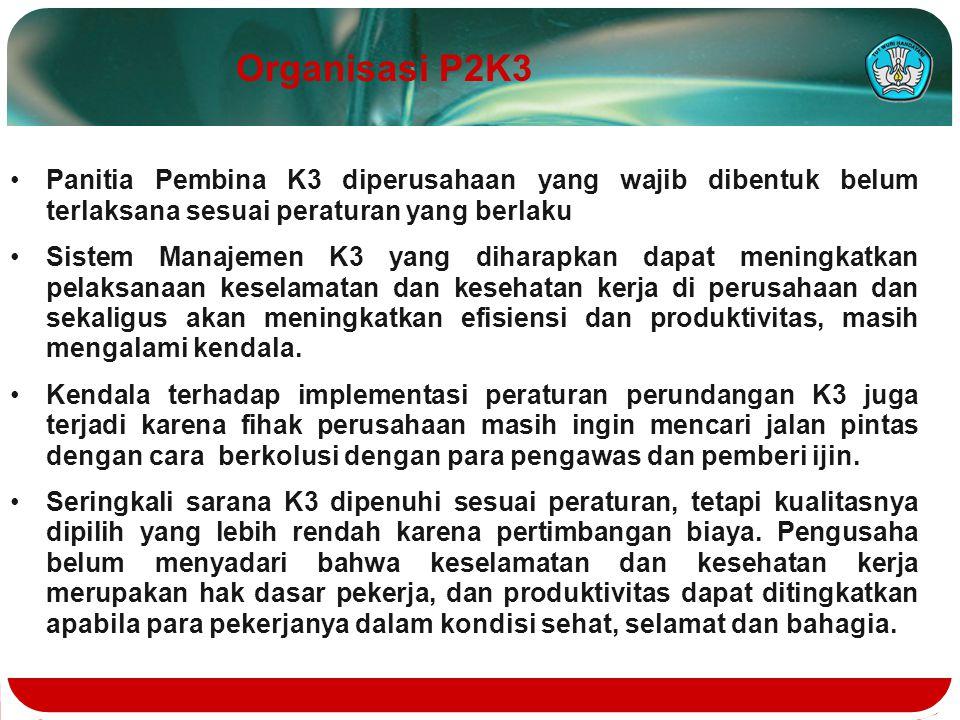 Panitia Pembina K3 diperusahaan yang wajib dibentuk belum terlaksana sesuai peraturan yang berlaku Sistem Manajemen K3 yang diharapkan dapat meningkat