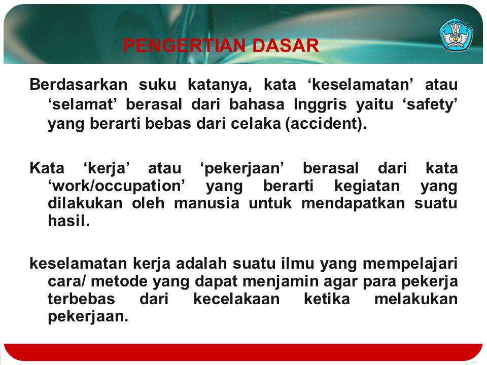 PENGERTIAN DASAR Berdasarkan suku katanya, kata 'keselamatan' atau 'selamat' berasal dari bahasa Inggris yaitu 'safety' yang berarti bebas dari celaka