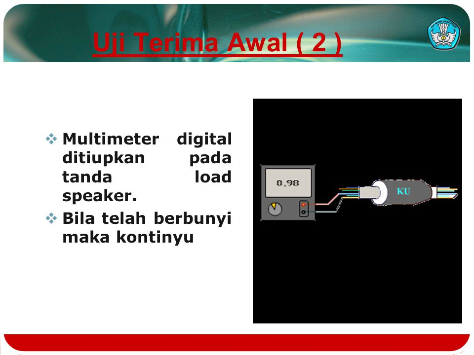 Uji Terima Awal ( 1 )  Menentukan ekor dan kepala kabel  Bila arah urat putaran kabel searah jarum jam maka disebut Ekor , Bila arah urat putaran kabel tidak searah jarum jam maka disebut Kepala .