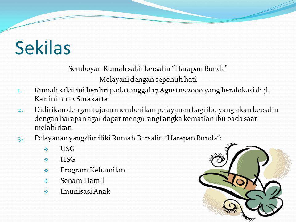 Sekilas Semboyan Rumah sakit bersalin Harapan Bunda Melayani dengan sepenuh hati 1.