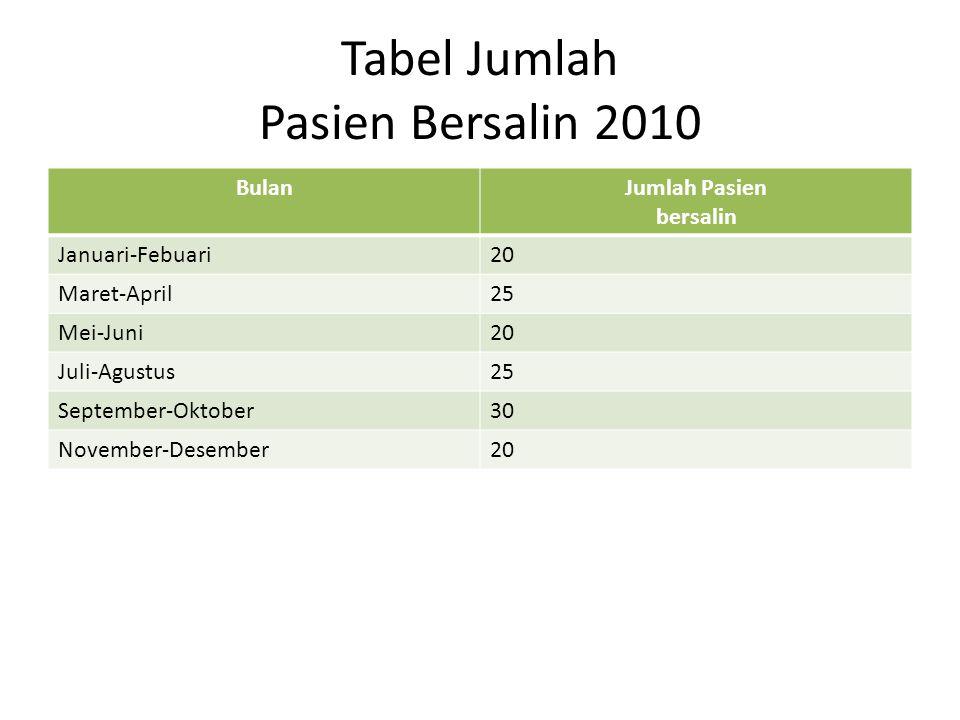 Tabel Jumlah Pasien Anak 2010 BulanJumlah Pasien Bersalin Januari-Febuari22 Maret-April40 Mei-Juni35 Juli-Agustus50 September-Oktober45 November-Desember55