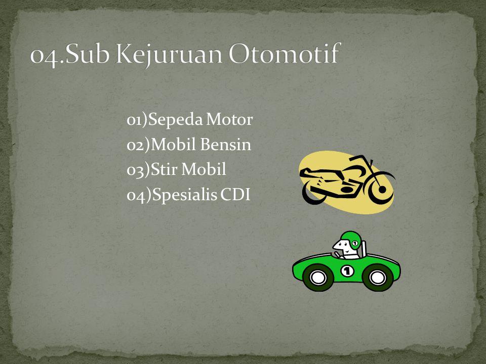 01)Sepeda Motor 02)Mobil Bensin 03)Stir Mobil 04)Spesialis CDI