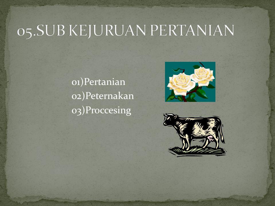 01)Pertanian 02)Peternakan 03)Proccesing