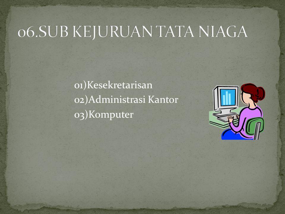 01)Kesekretarisan 02)Administrasi Kantor 03)Komputer
