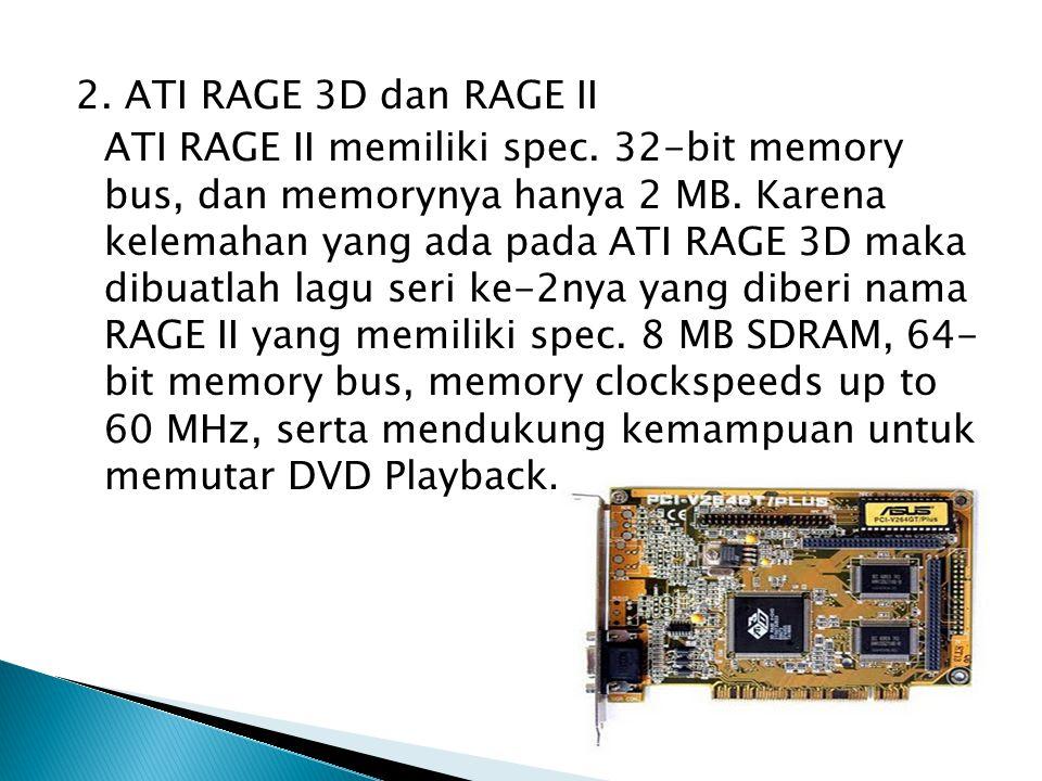 2.ATI RAGE 3D dan RAGE II ATI RAGE II memiliki spec.