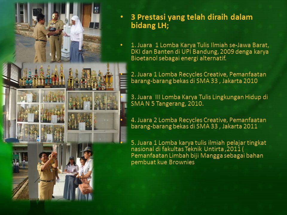3 Prestasi yang telah diraih dalam bidang LH; 1. Juara 1 Lomba Karya Tulis Ilmiah se-Jawa Barat, DKI dan Banten di UPI Bandung, 2009 denga karya Bioet