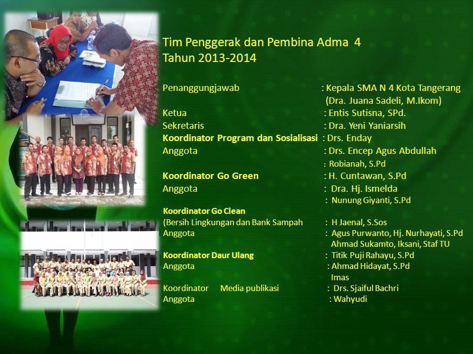 Tim Penggerak dan Pembina Adma 4 Tahun 2013-2014 Penanggungjawab : Kepala SMA N 4 Kota Tangerang (Dra. Juana Sadeli, M.Ikom) Ketua : Entis Sutisna, SP