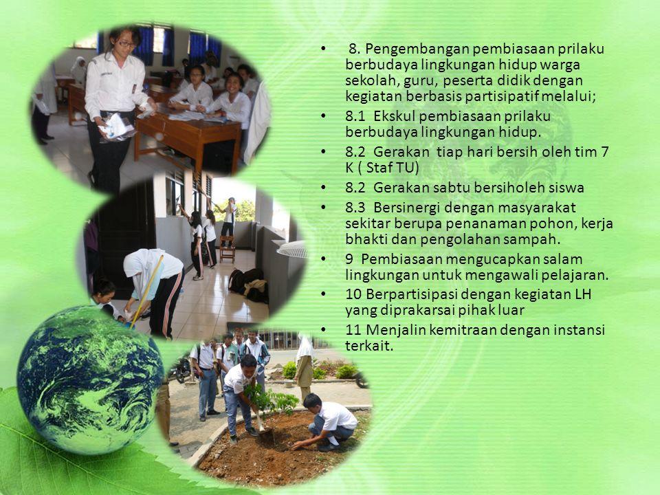 8. Pengembangan pembiasaan prilaku berbudaya lingkungan hidup warga sekolah, guru, peserta didik dengan kegiatan berbasis partisipatif melalui; 8.1 Ek