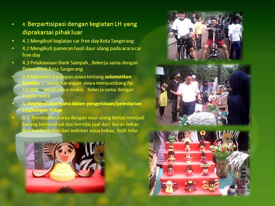 4. Berpartisipasi dengan kegiatan LH yang diprakarsai pihak luar 4.1 Mengikuti kegiatan car free day Kota Tangerang 4.2 Mengikuti pameran hasil daur u