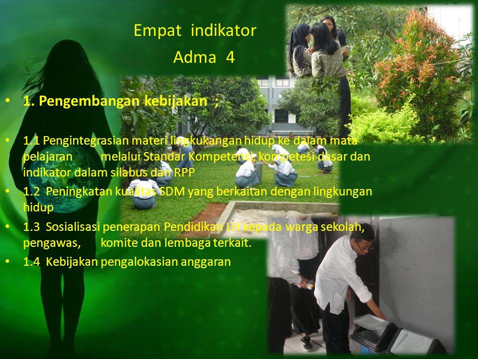Empat indikator Adma 4 1. Pengembangan kebijakan ; 1.1 Pengintegrasian materi lingkukangan hidup ke dalam mata pelajaran melalui Standar Kompetensi, k