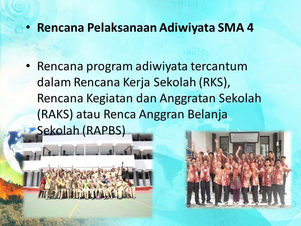 Rencana Pelaksanaan Adiwiyata SMA 4 Rencana program adiwiyata tercantum dalam Rencana Kerja Sekolah (RKS), Rencana Kegiatan dan Anggratan Sekolah (RAK