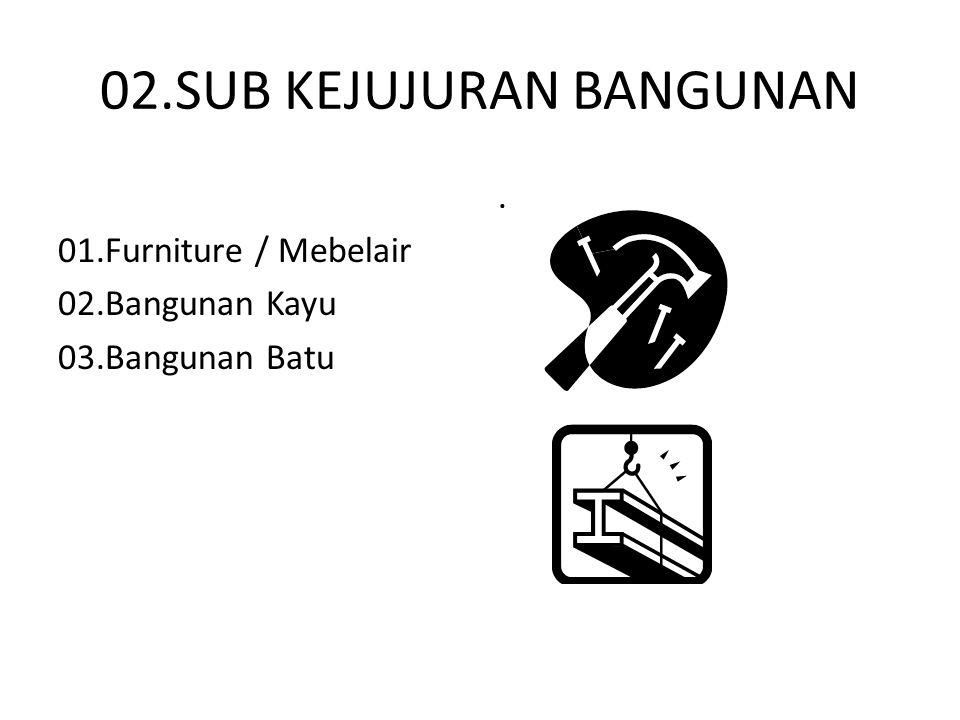 02.SUB KEJUJURAN BANGUNAN 01.Furniture / Mebelair 02.Bangunan Kayu 03.Bangunan Batu.