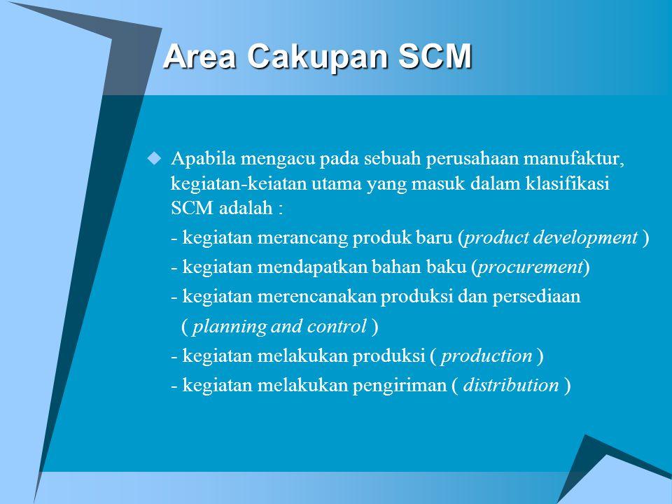 Area Cakupan SCM  Apabila mengacu pada sebuah perusahaan manufaktur, kegiatan-keiatan utama yang masuk dalam klasifikasi SCM adalah : - kegiatan mera