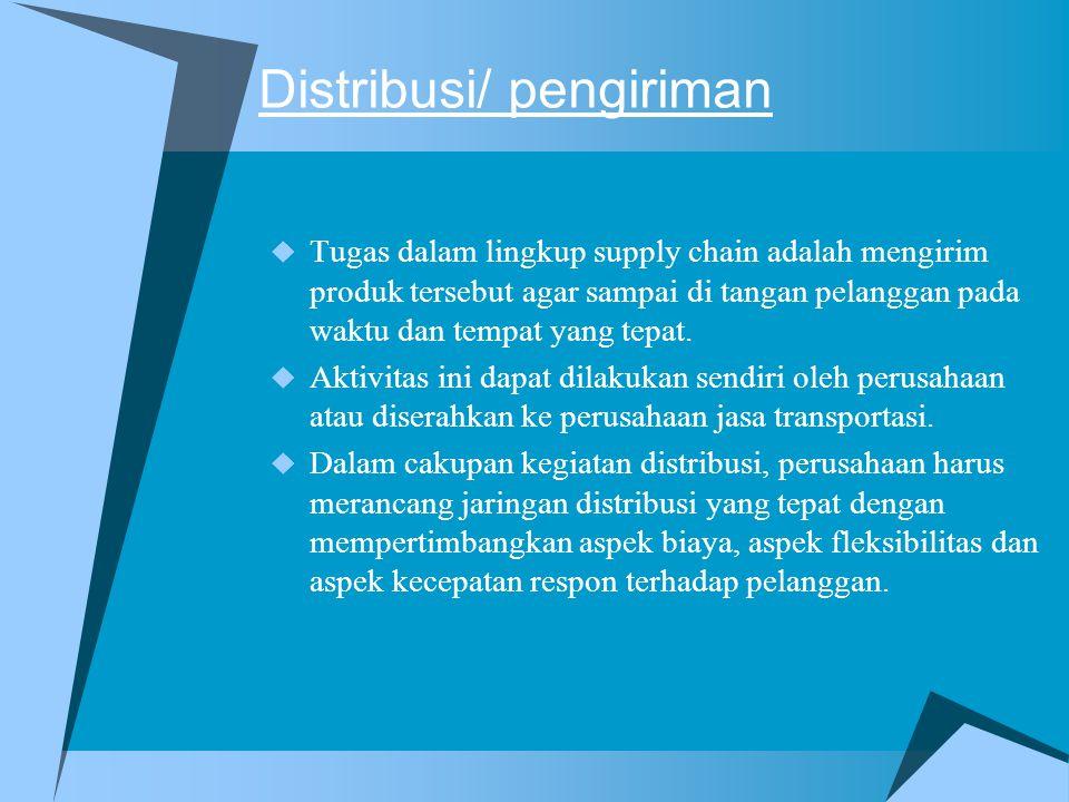 Distribusi/ pengiriman  Tugas dalam lingkup supply chain adalah mengirim produk tersebut agar sampai di tangan pelanggan pada waktu dan tempat yang tepat.
