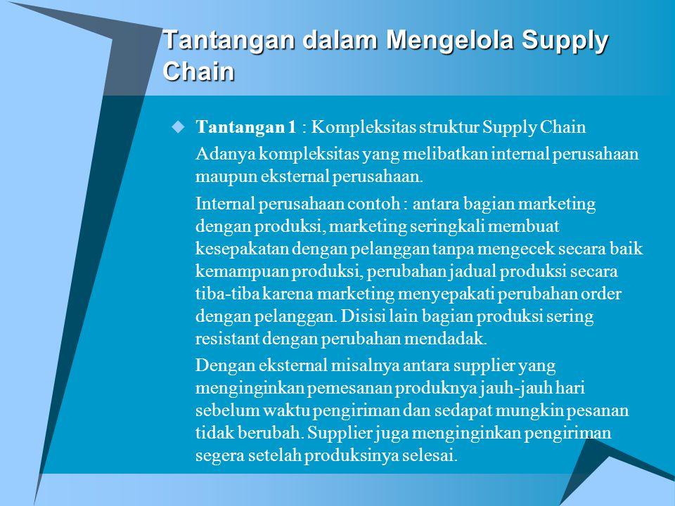 Tantangan dalam Mengelola Supply Chain  Tantangan 1 : Kompleksitas struktur Supply Chain Adanya kompleksitas yang melibatkan internal perusahaan maup