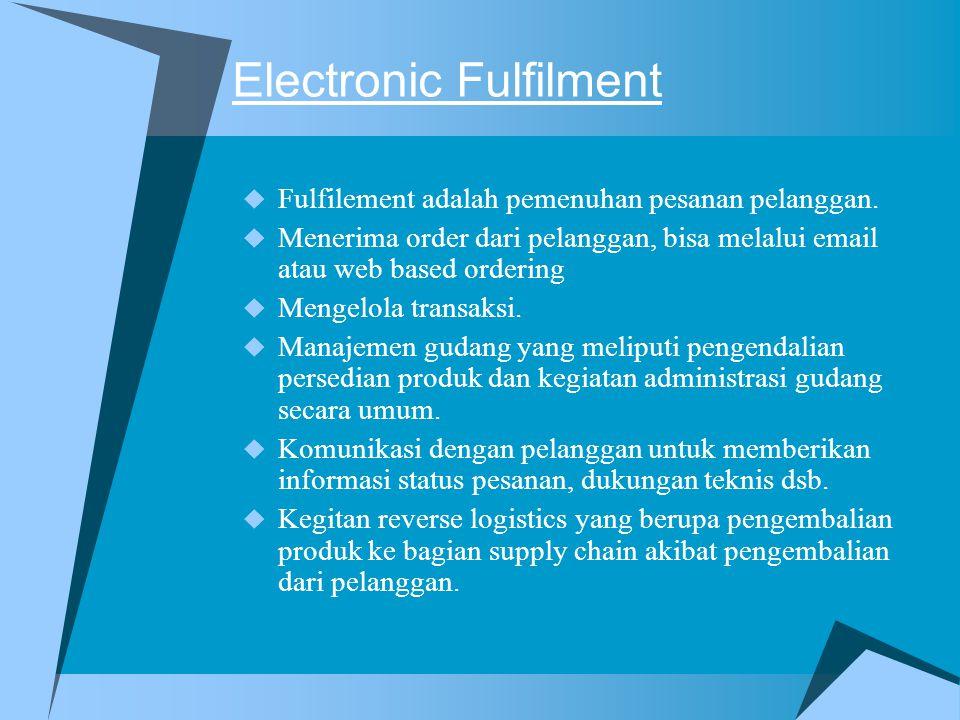 Electronic Fulfilment  Fulfilement adalah pemenuhan pesanan pelanggan.  Menerima order dari pelanggan, bisa melalui email atau web based ordering 