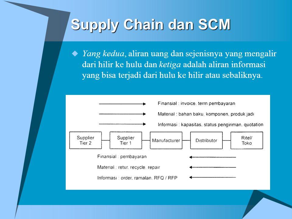 Supply Chain dan SCM  Yang kedua, aliran uang dan sejenisnya yang mengalir dari hilir ke hulu dan ketiga adalah aliran informasi yang bisa terjadi da